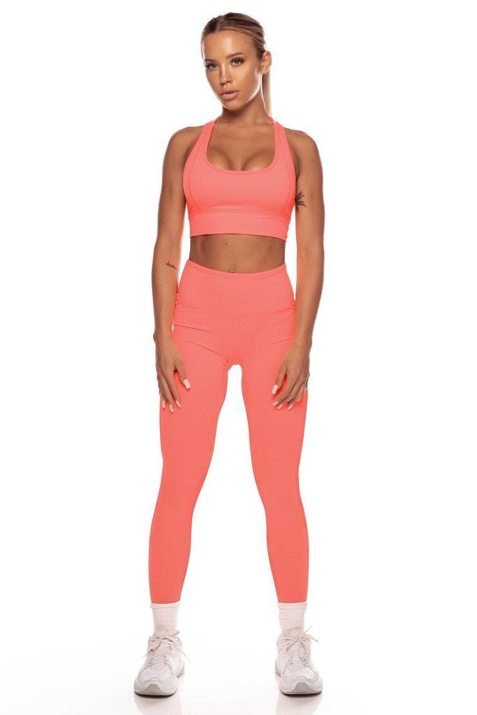 Neon Orange High Waist Leggings