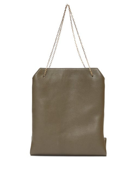 The Row - Lunch Bag Leather Clutch - Womens - Khaki