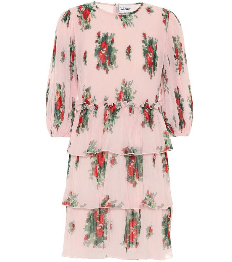 Ganni Floral georgette minidress in pink