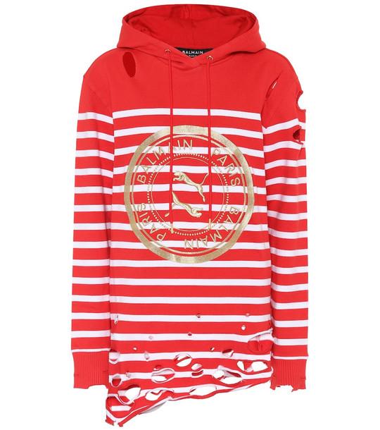 Puma x Balmain stretch-cotton hoodie in red