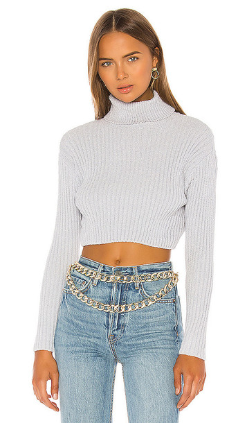 superdown Tammy Ribbed Turtleneck Sweater in Gray