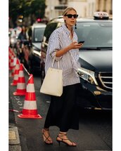 top,oversized shirt,white shirt,black sandals,maxi skirt,black skirt,white bag