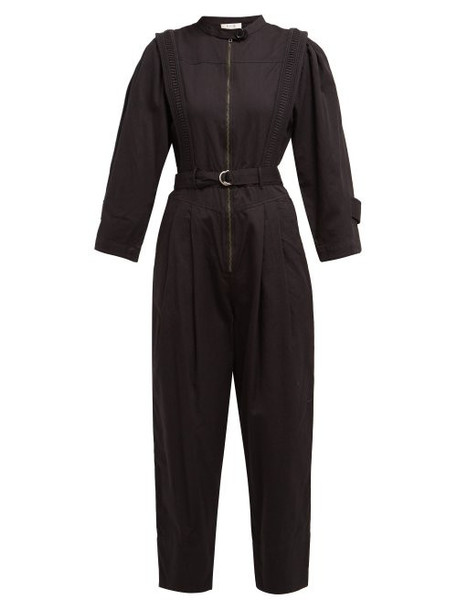 Sea - Hemingway Belted Cotton Jumpsuit - Womens - Black