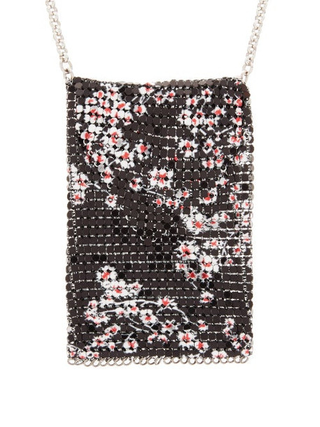 Paco Rabanne - Floral-print Chainmail Pouch Necklace - Womens - Black Multi