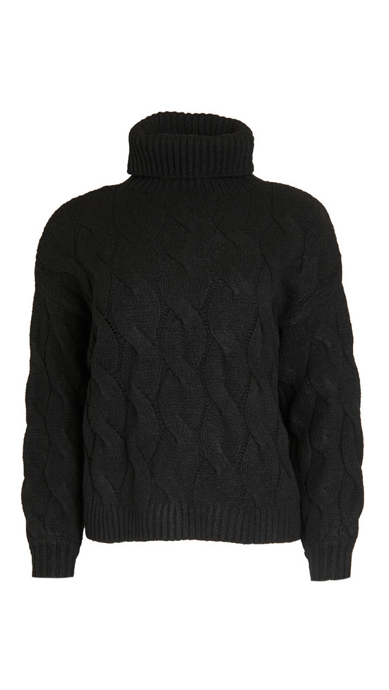 Line & Dot Aimee Cable Knit Sweater in black