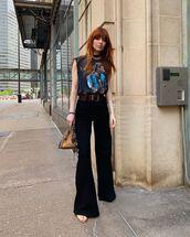pants,wide-leg pants,black pants,top,sleeveless top