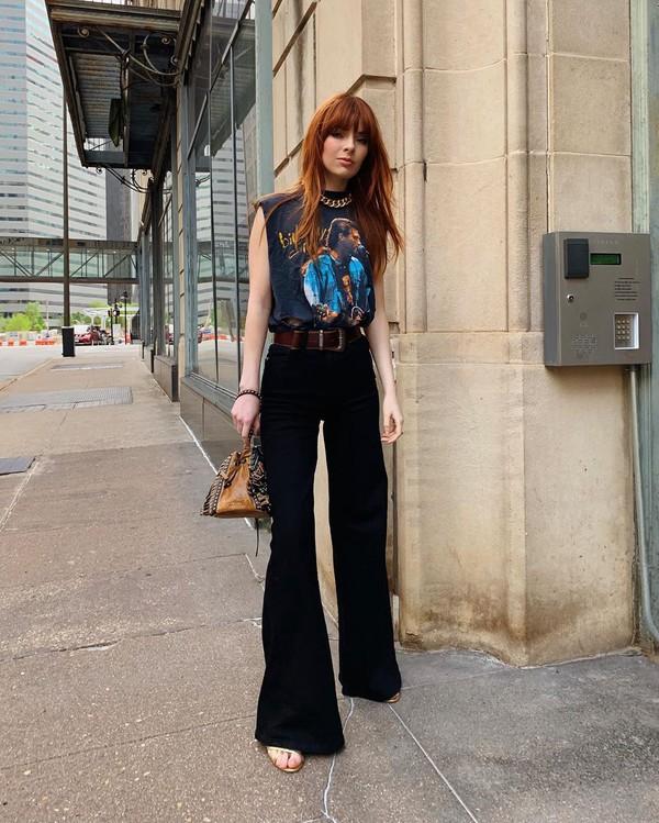 pants wide-leg pants black pants top sleeveless top