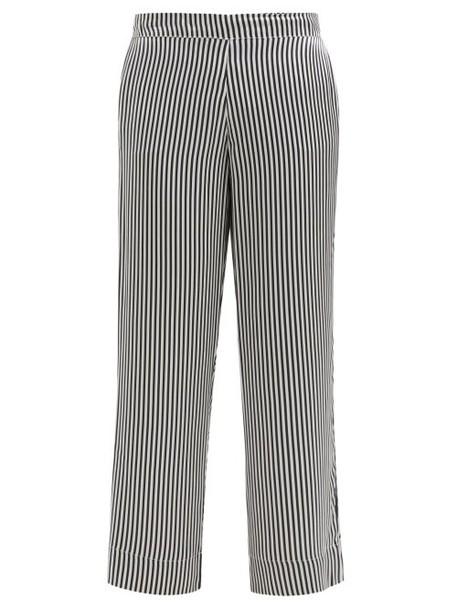 Asceno - Striped Sandwashed Silk Satin Pyjama Trousers - Womens - Black Stripe