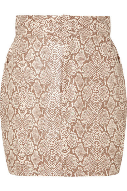 Michael Lo Sordo - Snake-effect Faux Leather Mini Skirt - Snake print