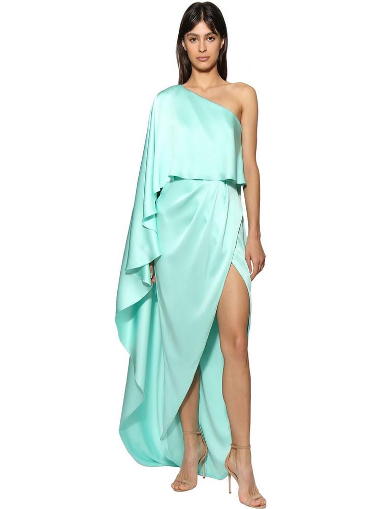 RALPH & RUSSO One Shoulder Silk Satin Dress in blue