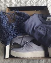 sweater,adidas,blue,crewneck,bralette,shoes,nike,nike air force 1,platform shoes
