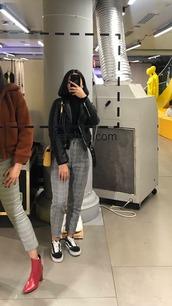 pants,grey pants,plaid pants,plaid grey,high waisted pants