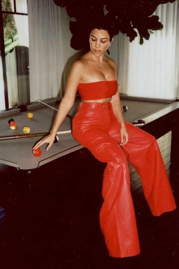 pants kourtney kardashian red red pants top bandeau celebrity instagram