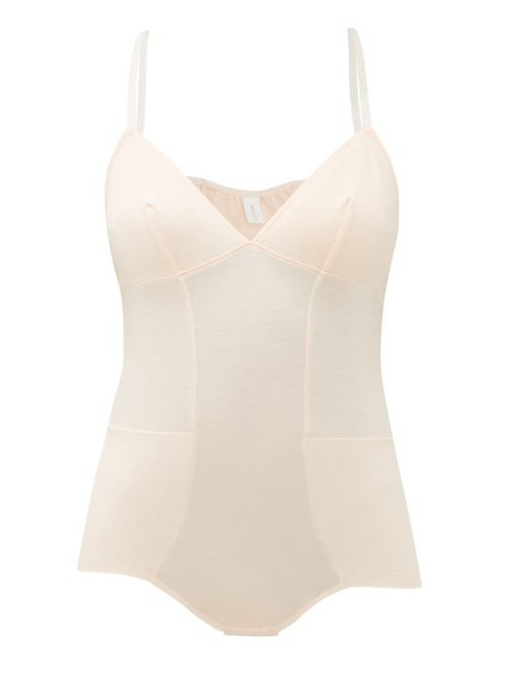 Rossell England - Panelled Cotton Jersey Bodysuit - Womens - Nude