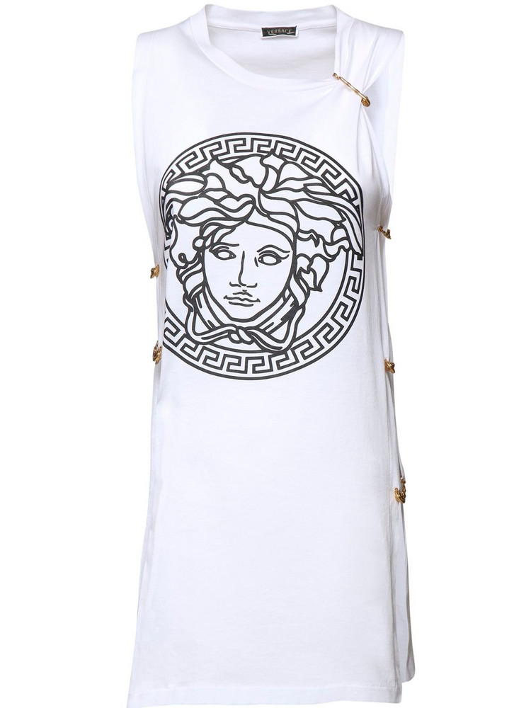 VERSACE Printed Jersey Sleeveless T-shirt in black / white