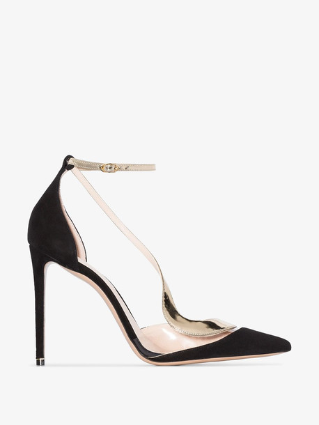Nicholas Kirkwood black and gold curved strap leather pumps
