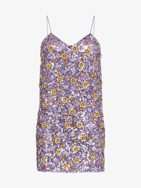 Ashish floral sequin mini dress in purple