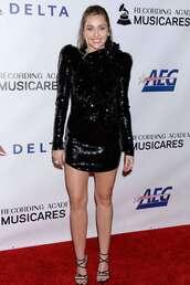 dress,sequins,sequin dress,mini dress,sequin prom dress,miley cyrus,celebrity,black dress,sandals