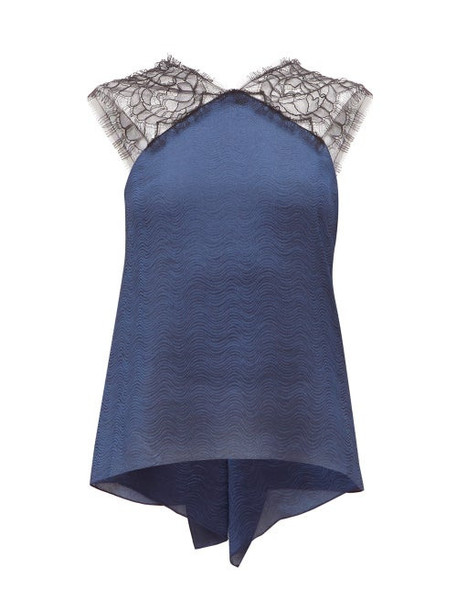 Roland Mouret - Dave Lace And Wave Lamé Top - Womens - Navy Multi