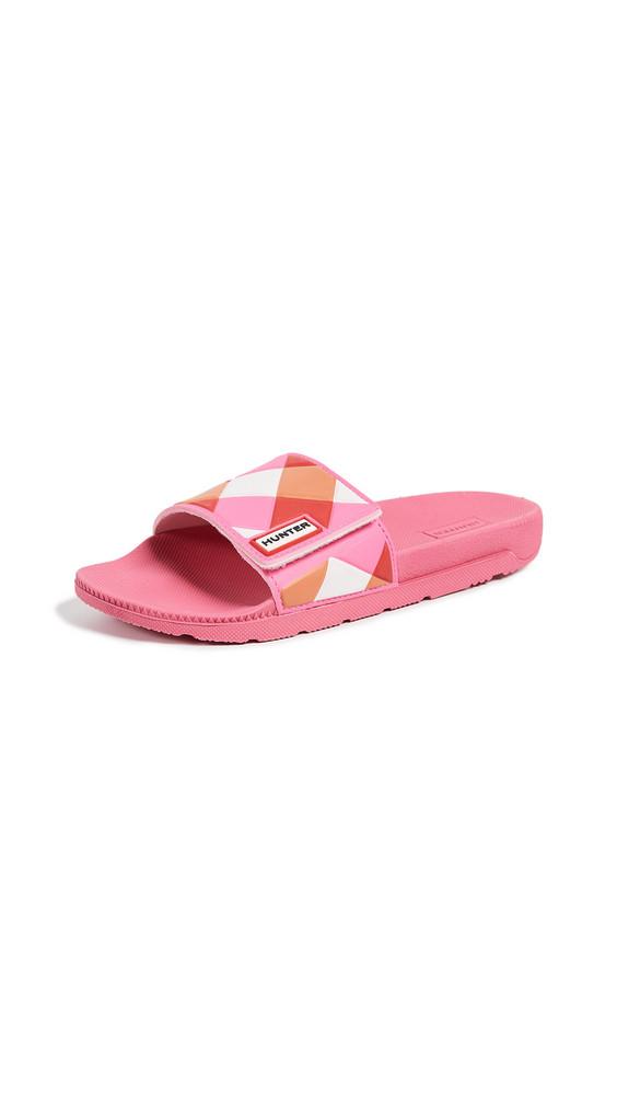 Hunter Boots Original Adjustable Gingham Slides in pink