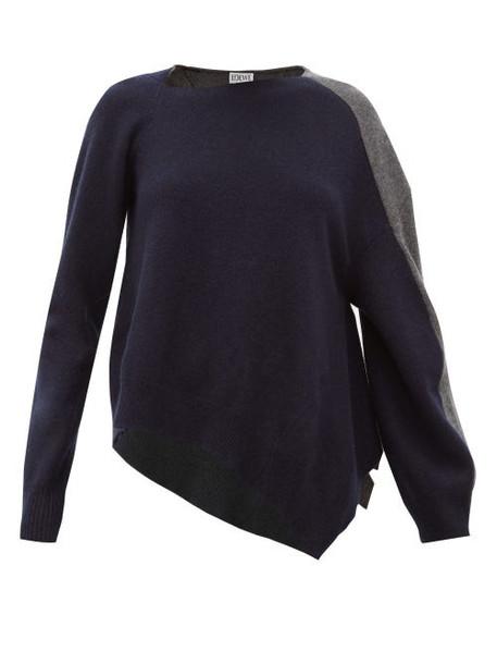 Loewe - Asymmetric Wool Blend Sweater - Womens - Navy Multi