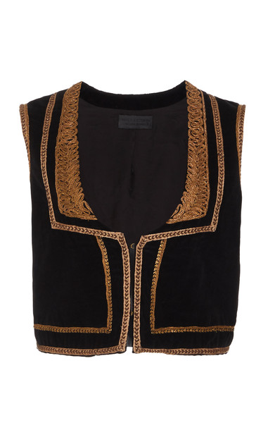 NILI LOTAN Griffin Cotton Moroccan Vest Size: XS in black