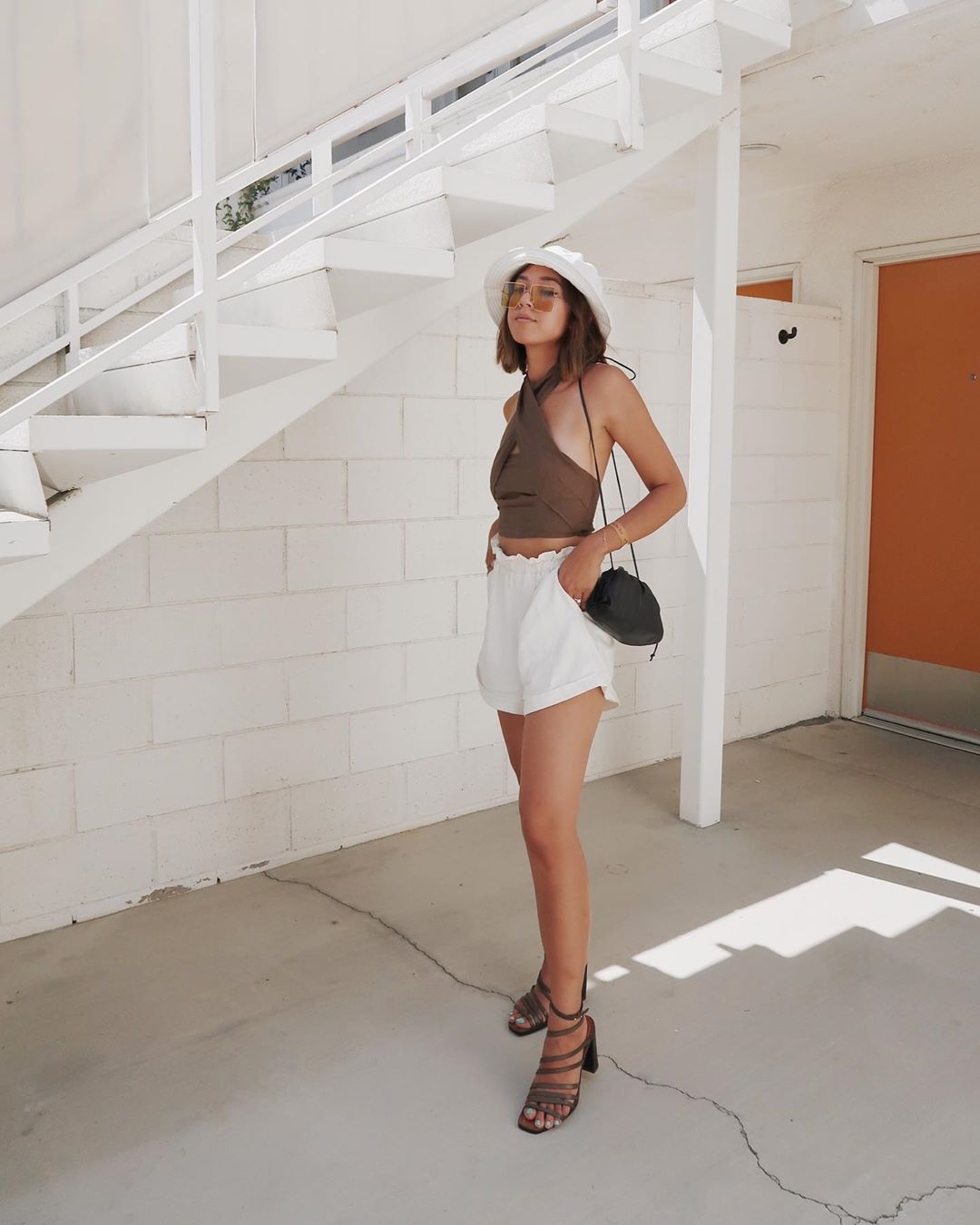 shorts white shorts High waisted shorts sandal heels crop tops bag sun hat