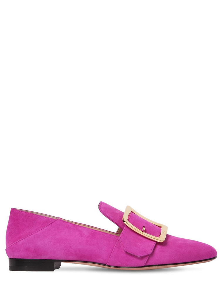 BALLY 10mm Janelle Suede Loafers in fuchsia