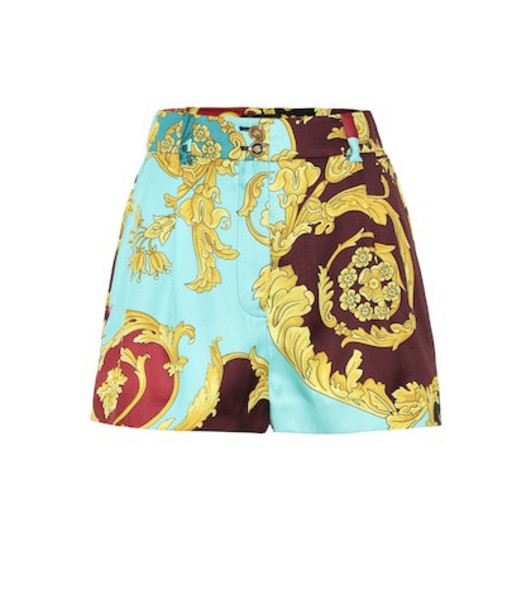 Versace High-rise baroque printed shorts