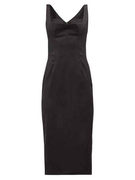 Dolce & Gabbana - Satin Midi Dress - Womens - Black