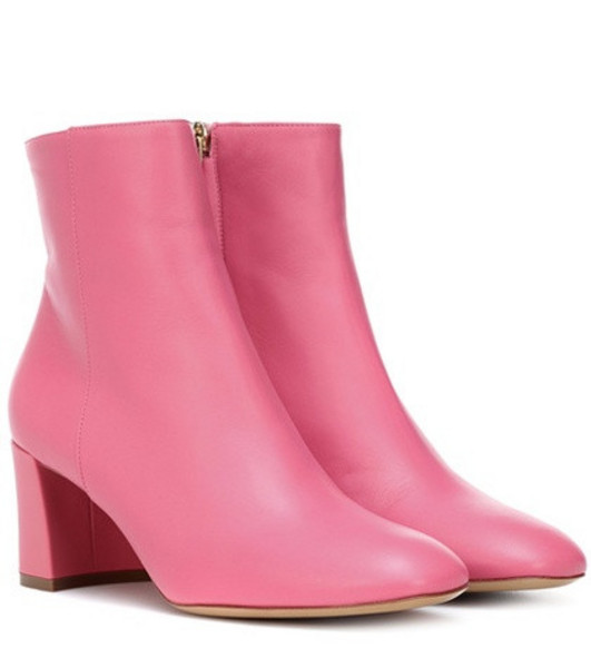 Mansur Gavriel Leather ankle boots in pink