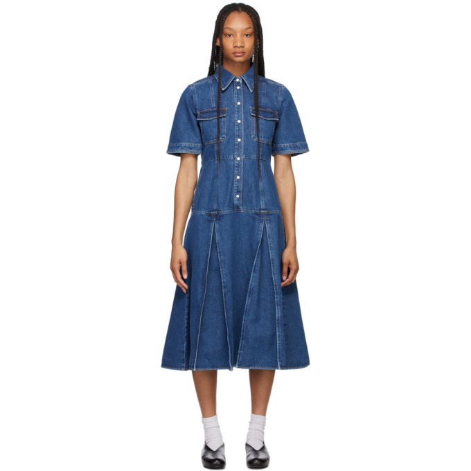 Wales Bonner Blue Denim Saint Catherine Shirt Dress in indigo