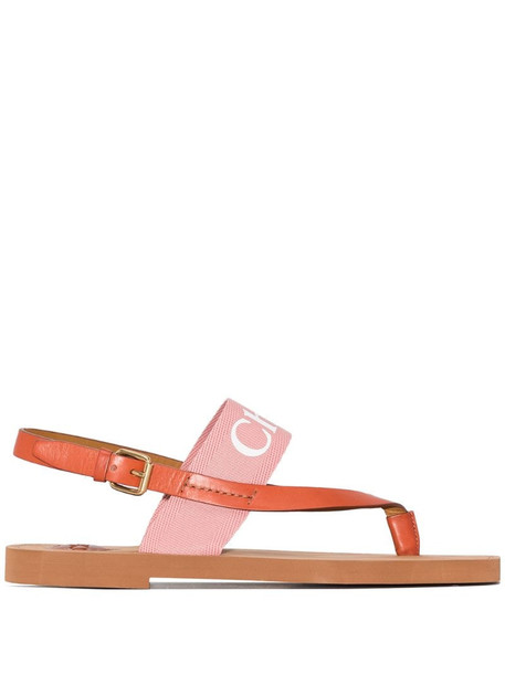 Chloé logo-print leather sandals in brown