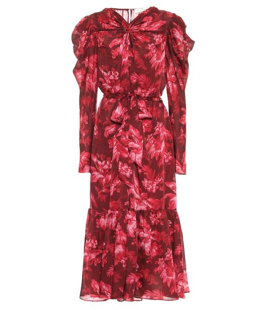 Zimmermann Ladybeetle floral midi dress in red