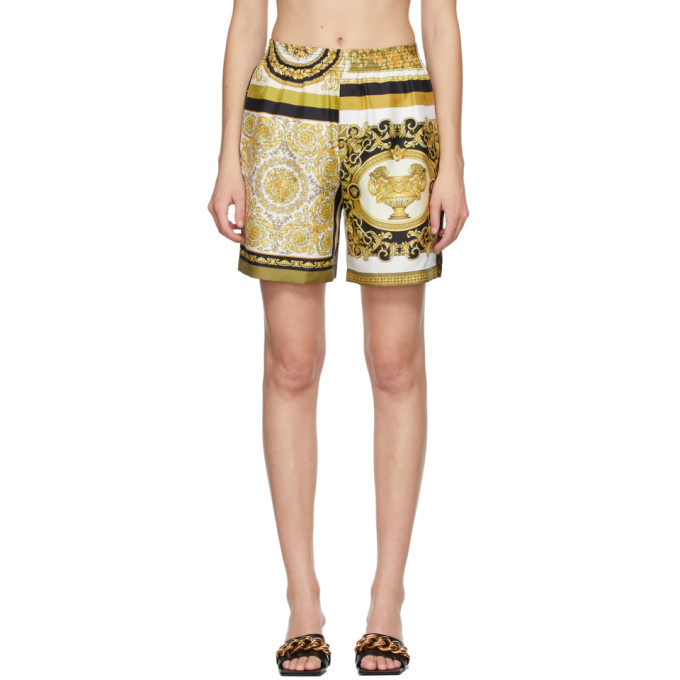 Versace White and Yellow Silk Barocco Mosaic Shorts in gold