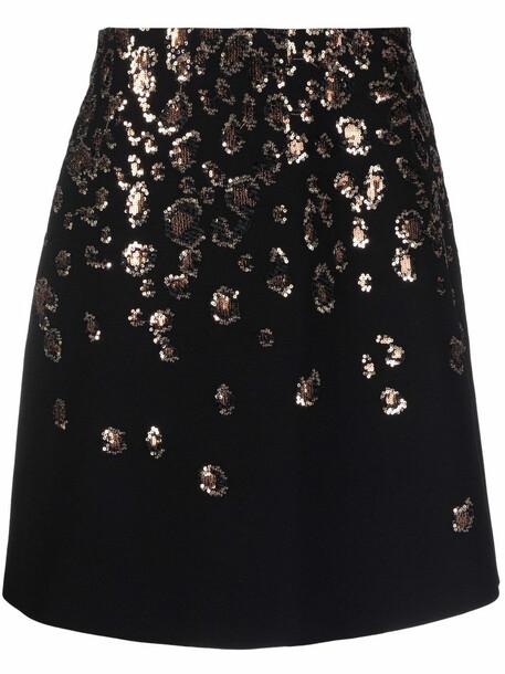 Elie Saab sequined A-line silk skirt - Black