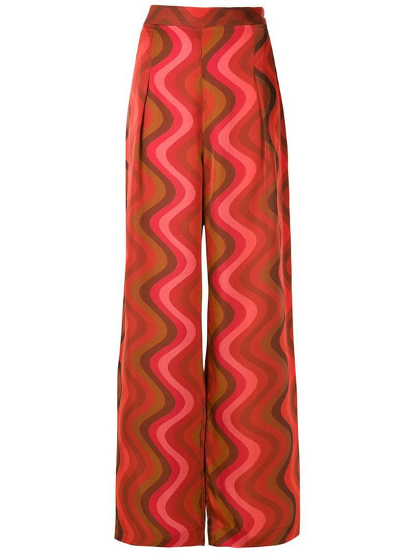 Andrea Marques wave print wide leg trousers in red