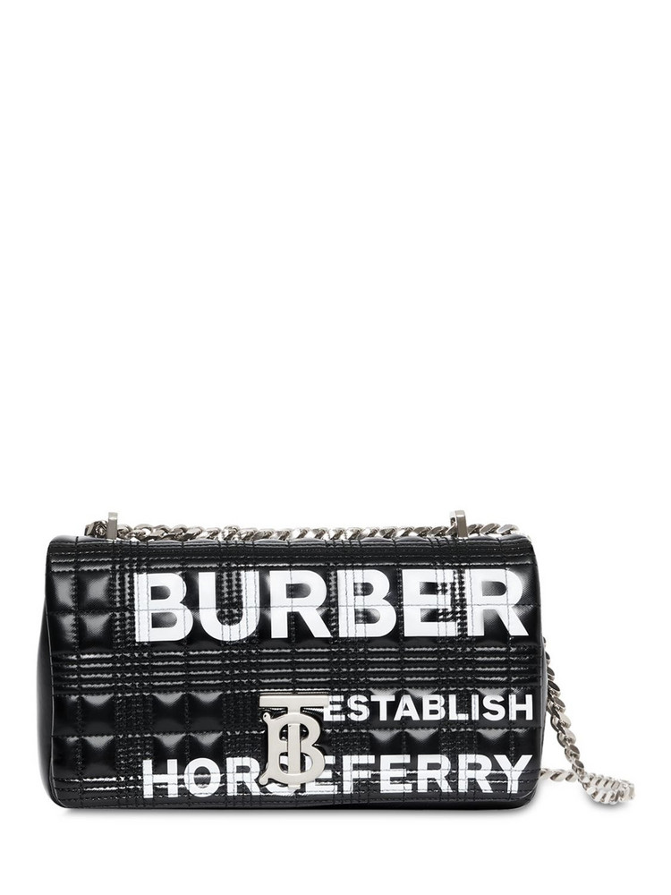 BURBERRY Sm Lola Logo Quilted Leather Bag in black