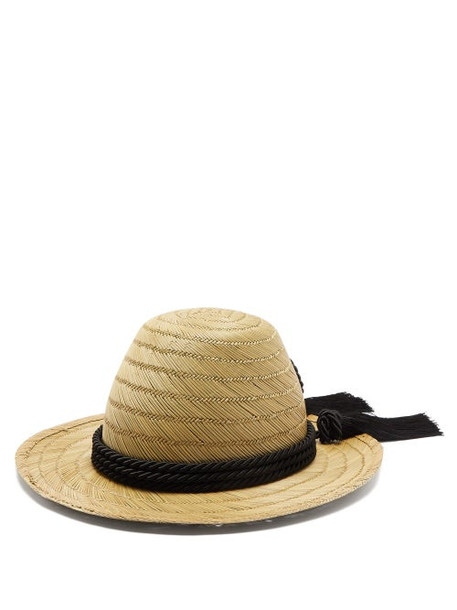 Gucci - Passementerie Trim Straw Hat - Womens - Black