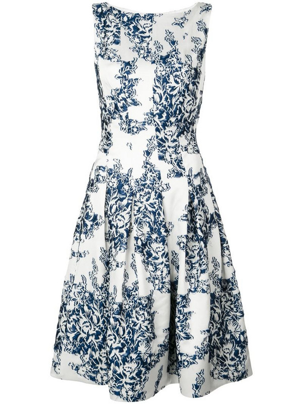Oscar de la Renta floral print dress in white