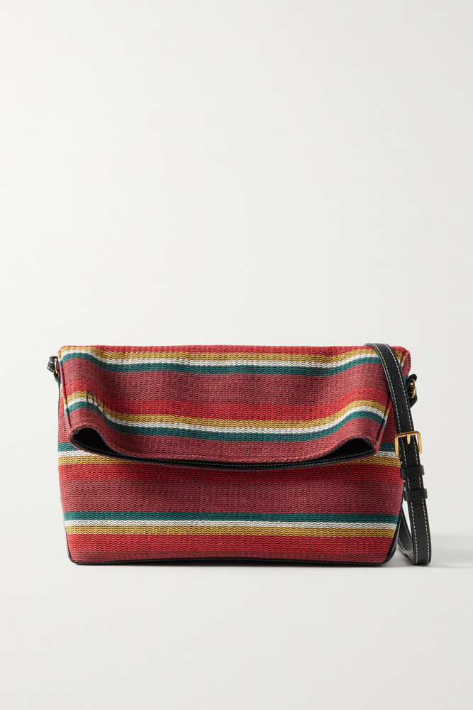 ALTUZARRA - Duo Reversible Striped Cotton-canvas And Textured-leather Shoulder Bag - one size in red