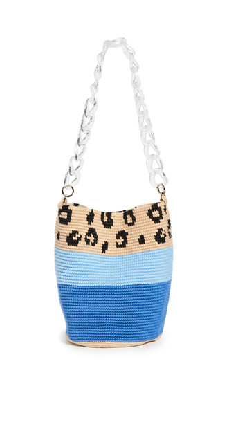 Soraya Hennessy Blue Leopard Midi Bag