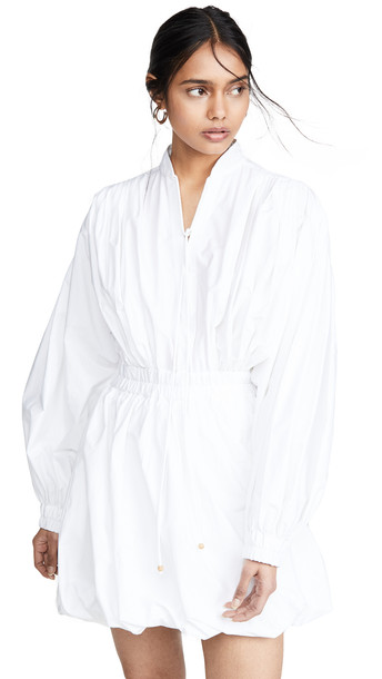 Philosophy di Lorenzo Serafini Tie Neck Puff Sleeve Mini Dress in white