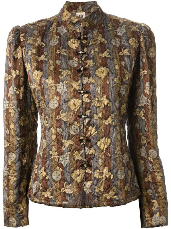 Emanuel Ungaro Pre-Owned floral quilted jacket in green