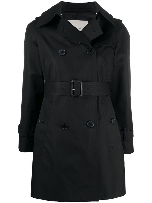 Mackintosh short cotton trench coat in black