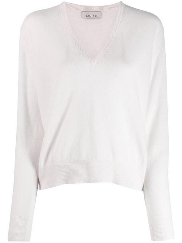 Laneus v-neck knitted top in white