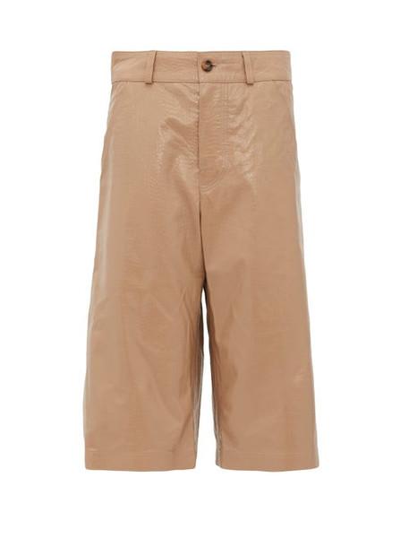 Dodo Bar Or - Deniz Crocodile-effect Leather Shorts - Womens - Beige