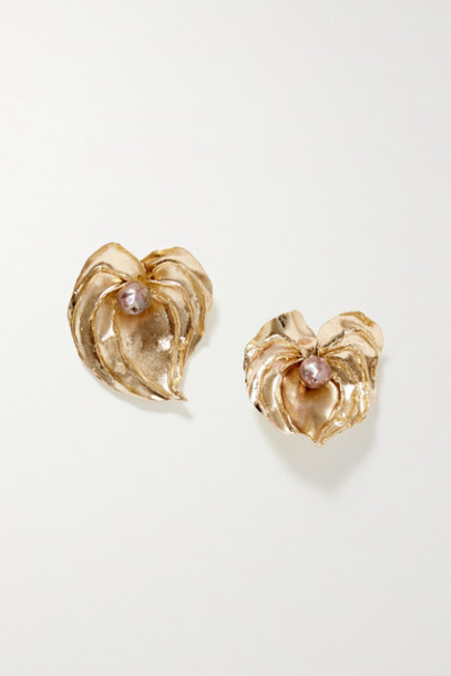 STVDIO - Anthurium Gold-tone Pearl Earrings