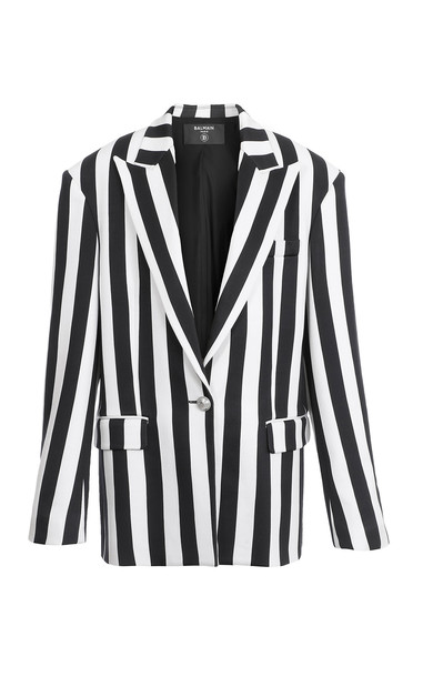 Balmain Striped Satin Boyfriend Jacket Size: 44 in black