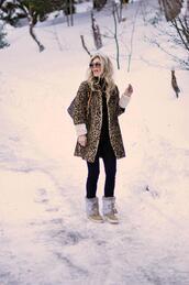 love maegan,blogger,coat,jewels,jeans,sweater,shoes,leopard coat,leopard print,winter boots